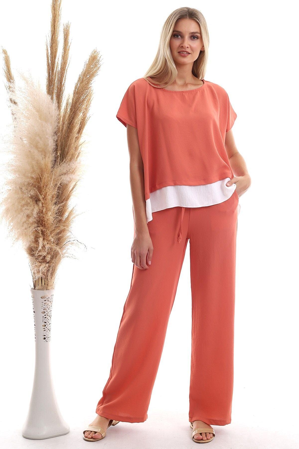 Kadın Sogan Kabugu Etek Garnili Bluz Pantolon Takım 20333064