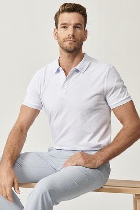Altınyıldız Classics Erkek Beyaz Polo Yaka Cepsiz Slim Fit Dar Kesim %100 Koton Düz Tişört 1