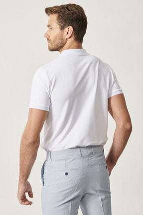 Altınyıldız Classics Erkek Beyaz Polo Yaka Cepsiz Slim Fit Dar Kesim %100 Koton Düz Tişört 4