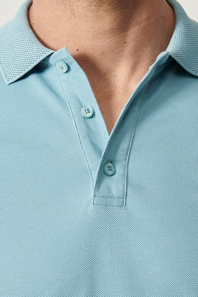 Altınyıldız Classics Erkek Petrol Polo Yaka Cepsiz Slim Fit Dar Kesim %100 Koton Düz Tişört 3