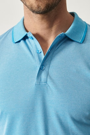 Altınyıldız Classics Erkek Mavi Düğmeli Polo Yaka Cepsiz Slim Fit Dar Kesim Düz Tişört 2