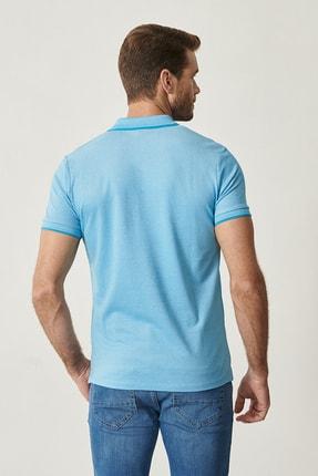 Altınyıldız Classics Erkek Mavi Düğmeli Polo Yaka Cepsiz Slim Fit Dar Kesim Düz Tişört 3