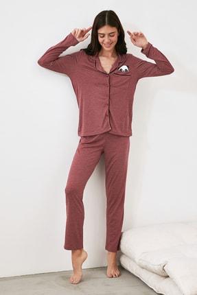 TRENDYOLMİLLA Bordo Panda Baskılı Örme Pijama Takımı THMAW21PT0245 1