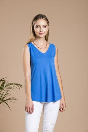 SHIEBA Kadın Mavi V Yaka Bol Kesim Salaş Balon T-shirt 0