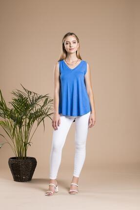 SHIEBA Kadın Mavi V Yaka Bol Kesim Salaş Balon T-shirt 3