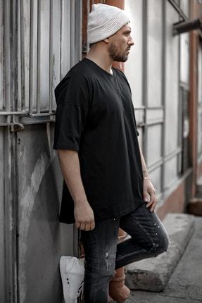 XHAN Erkek Siyah Fermuar Detaylı T-shirt 1kxe1-44339-02 1