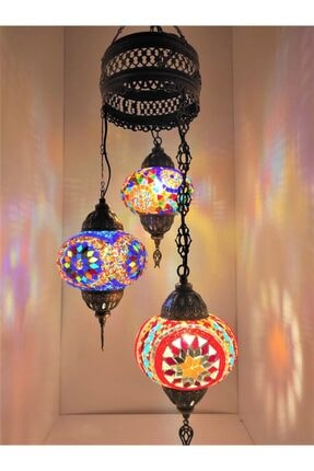 Mozaik 3lü Avize Sarkıt Otantik Lamba Renkli Sarkıt Lamba 789yguü