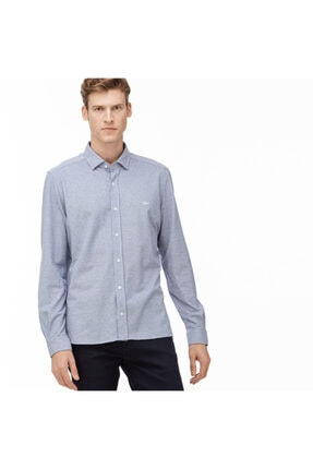 Erkek Slim Fit Mavi Slim Fit Gömlek CH2028