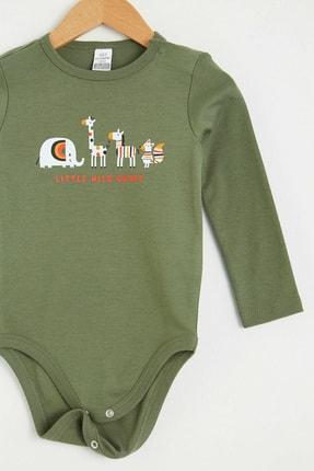 LC Waikiki Erkek Bebek Mat Yeşil Ey8 Bebek Body & Zıbın 1