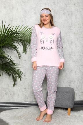 Manolya Kadın Toz Pembe Kışlık Uzun Kollu Peluş Polar Pijama Takımı 0