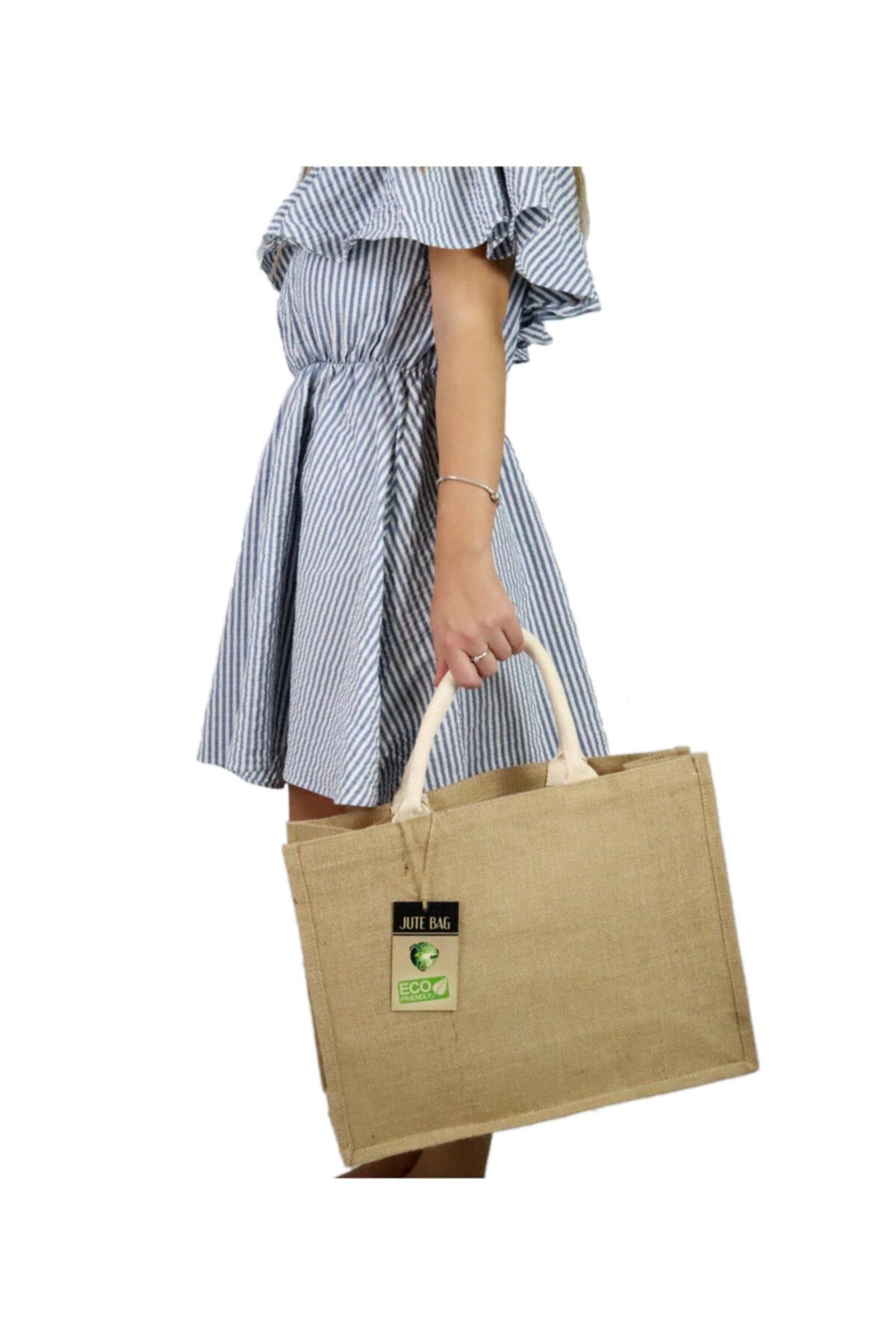 Jüt Çanta Çok Amaçlı Kullanımlar Için (plaj,alışveriş,günlük Kullanım)