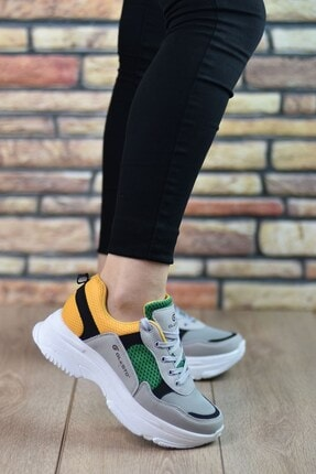 Riccon Buz Gri Beyaz Sarı Kadın Sneaker 126201 2