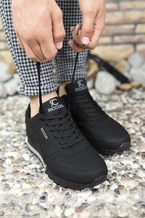Riccon Siyah Siyah Unisex Cilt Sneaker 0012853 2