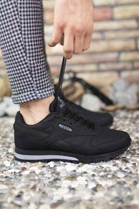 Riccon Siyah Siyah Unisex Cilt Sneaker 0012853 3