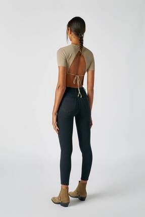 Pull & Bear Kadın Siyah Yüksek Bel Skinny Fit Jean 09684309 1