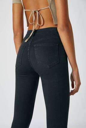 Pull & Bear Kadın Siyah Yüksek Bel Skinny Fit Jean 09684309 3