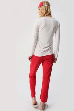 Trend Alaçatı Stili Kadın Beyaz Uyku Bantlı Bisiklet Yaka Yılbaşı Geyik Baskılı Pijama Takım ALC-X5319 4