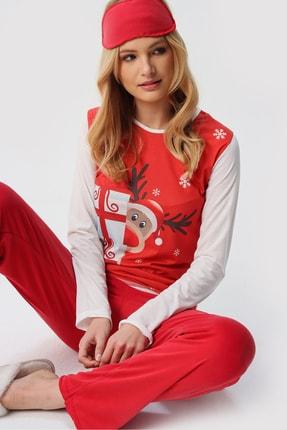 Trend Alaçatı Stili Kadın Kırmızı Uyku Bantlı Bisiklet Yaka Yılbaşı Geyik Baskılı Pijama Takım ALC-X5318 1