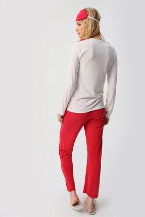 Trend Alaçatı Stili Kadın Kırmızı Uyku Bantlı Bisiklet Yaka Yılbaşı Geyik Baskılı Pijama Takım ALC-X5318 4