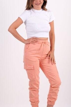 AYSL BUTİK Kadın Somon Beli ve Paçası Lastikli Kargo Pantolon 1