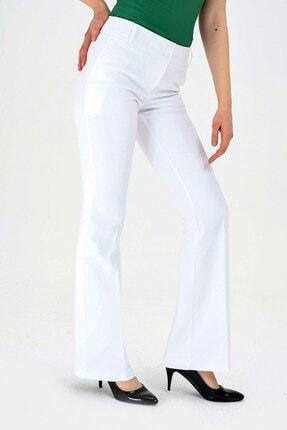 Jument Kalın Kemerli Cepli Ispanyol Bol Paça Likralı Kumaş Pantolon-beyaz 3