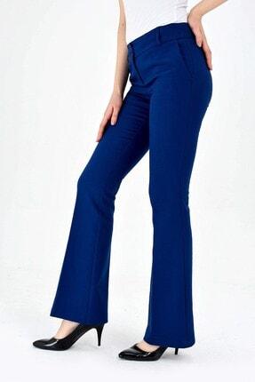 Jument Kalın Kemerli Cepli Ispanyol Bol Paça Likralı Kumaş Pantolon-indigo 4
