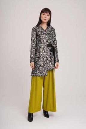 Mizalle Kadın Beyaz Jakarlı Bağlamalı Kimono 0