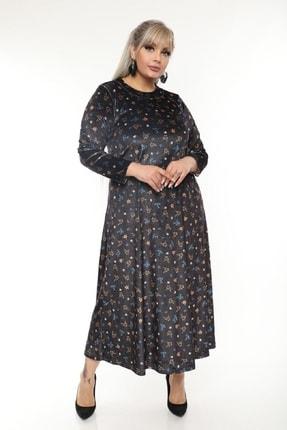Şirin Butik Büyük Beden Yaka Pervazlı Kadife Elbise 2