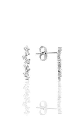 Söğütlü Silver Gümüş Pırlanta Modeli Sıra Taşlı Küpe 0