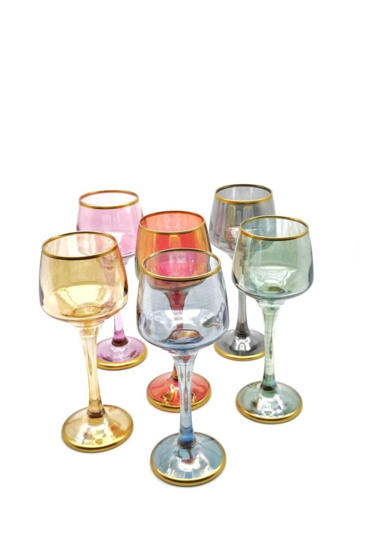 6'lı Mini Renkli Ayaklı Kahve Yanı Su Bardağı