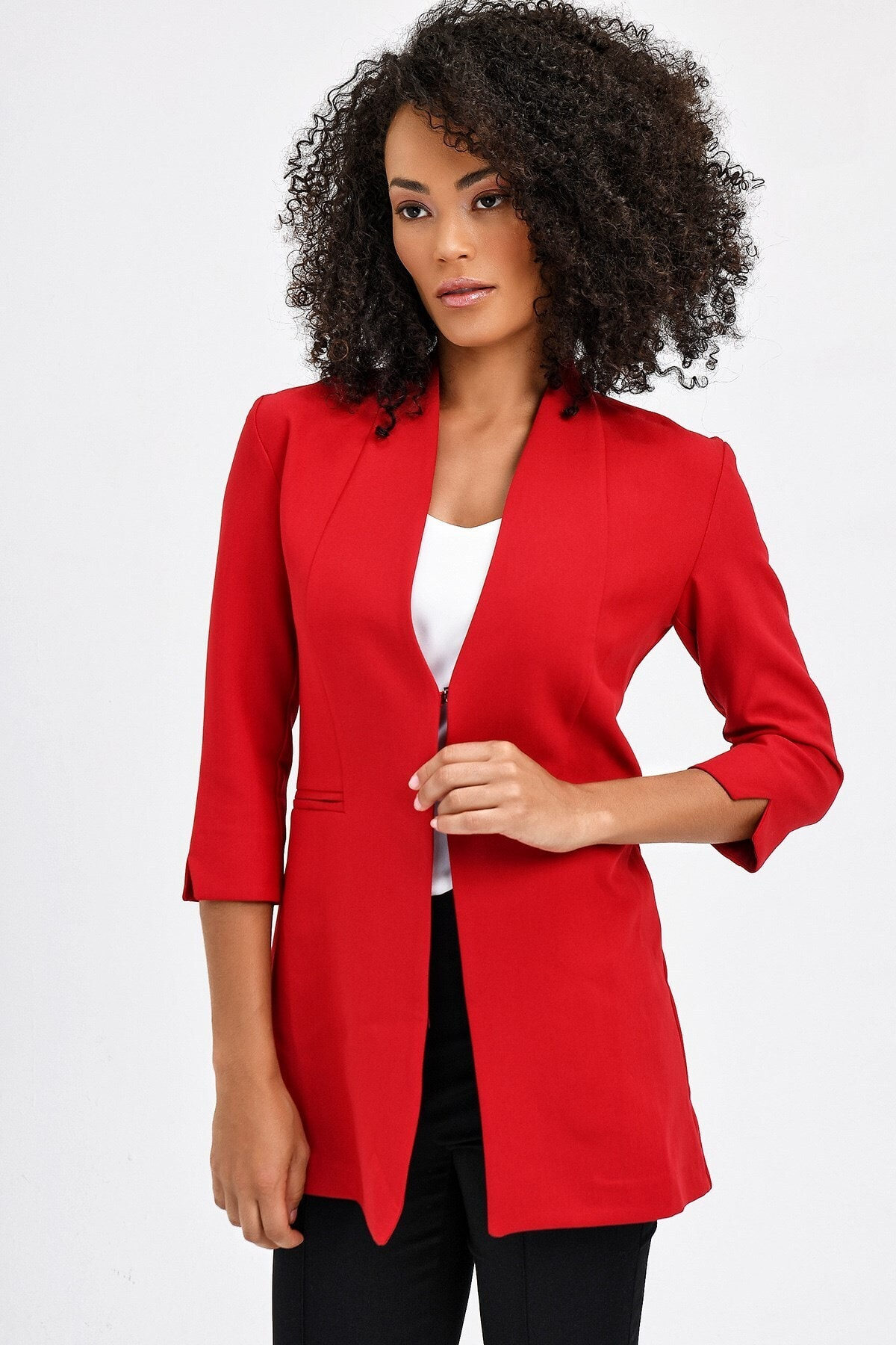 Hakim Yaka Flato Cepli Kolu Yırtmaçlı Uzun Blazer Kumaş Ceket -kırmızı