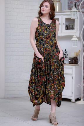 Chiccy Kadın Yeşil Bohem Şal Desenli Püsküllü Cep Detaylı Asimetrik Salaş Dokuma Elbise M10160000el97262 2