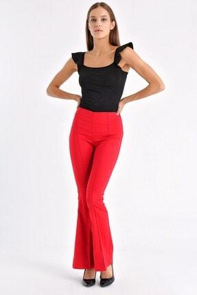Jument Kadın Kırmızı Ön Arka Dikişli Ispanyol Paça Tayt Pantolon 0
