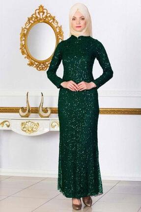 Kadın Zümrüt Abiye Pul Payet Elbise 63349-Zümrüt