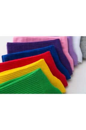 BGK 10'lu Unisex Renkli Kolej Çorap (Antibakteriyel Extra Soft) 3