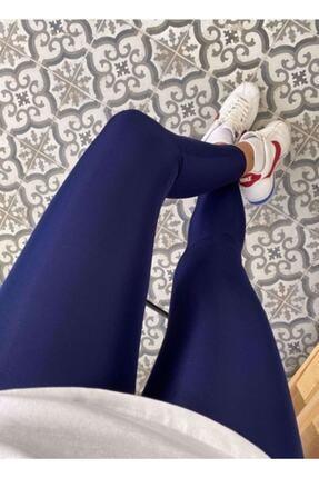 Modaruba Kadın Lacivert Yüksek Bel Günlük Ve Sporda Kullanım Toparlayıcı Parlak Disco Tayt 1 Beden Toparlar 0