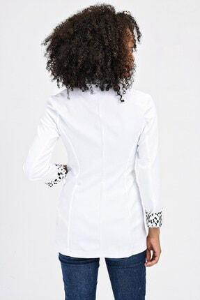 Jument Yakalı Cepli Uzun Kol Katlamalı Blazer Kumaş Ceket-beyaz 1