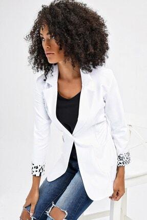 Jument Yakalı Cepli Uzun Kol Katlamalı Blazer Kumaş Ceket-beyaz 3