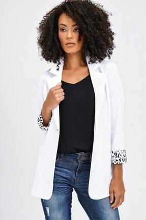 Jument Yakalı Cepli Uzun Kol Katlamalı Blazer Kumaş Ceket-beyaz 4
