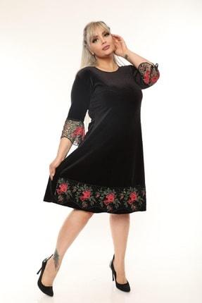 Şirin Butik Kadın Siyah Büyük Beden Çiçek Detaylı Kadife Elbise 2