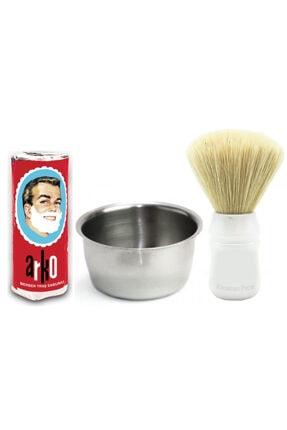 KocamanPazar Tıraş Seti Sakal Tıraş Fırçası + Arko Tıraş Sabunu + Çelik Tıraş Köpürtme Tası 0