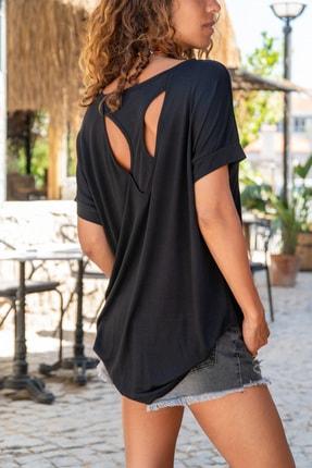 Güneşkızı Kadın Siyah Sırtı Atlet Detaylı Salaş T-Shirt GK-JR220 0