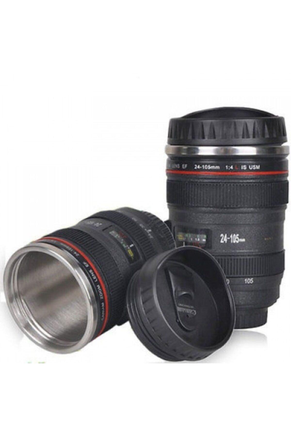 Objektif Görünümlü Lens Kupa Çelik Kahve Çay Termos Mug Bardak