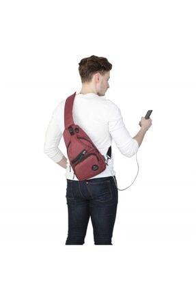 My Valice Unisex Bordo Smart Bag Usb'li Çapraz Göğüs Çantası 1