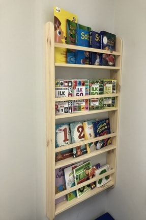 Karaköse Ahşap Montessori Kitaplık Çocuk Odası Eğitici Kitaplık Ahşap Bebek Çocuk Odası Montessori Ahşap Duvar Rafı 4