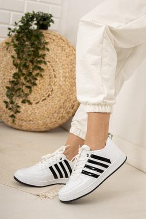 Moda Değirmeni Kadın Beyaz Siyah Sneaker Md1053-101-0002 1