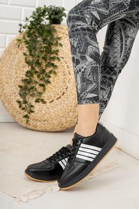 Moda Değirmeni Kadın Siyah Beyaz Krep Tabanlı Sneaker Md1053-101-0002 1