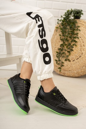 Moda Değirmeni Kadın Siyah Yeşil Sneaker Md1053-101-0002 1