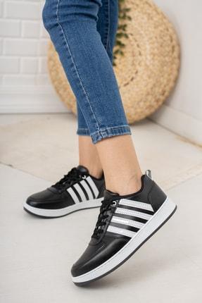 Moda Değirmeni Kadın Siyah Beyaz Sneaker Md1053-101-0002 1