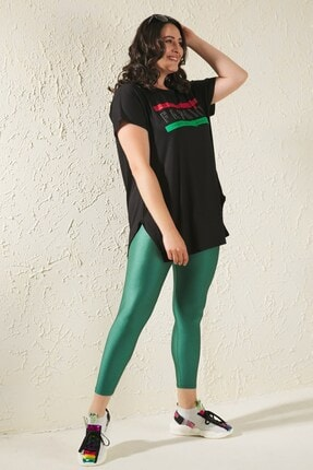 Siyezen Kadın Siyah Büyük Beden Salaş Fashion Baskılı T-shirt 2